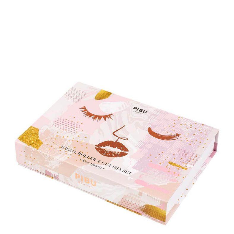 Pibu Rose Quartz Facial Roller & Gua Sha Set